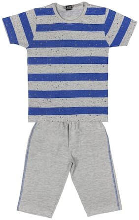 Todd N Teen Cotton Striped Top & Bottom Set - Blue & Grey