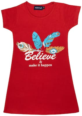 Todd N Teen Girl's Cotton Printed Nighty - Red