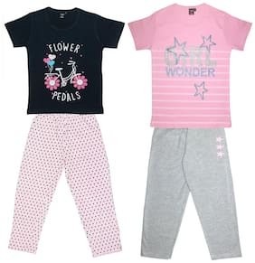 Todd N Teen Girls Cotton Printed Pyjama with Tshirt Combo set of 2 (5 to 6 years) Blue