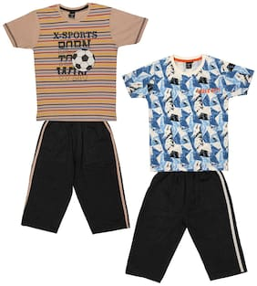Todd N Teen Boys Cotton Printed Tshirt with Three quarter pant Combo set of 2 (5 to 6 years) Multi