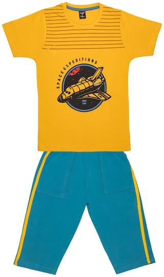 Todd N Teen Cotton Printed Top & Bottom Set - Yellow & Blue