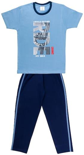 Todd N Teen Boys Cotton Pinted Tshirt, Dailywear, Clothing Set With Track Pant Full Pant Pyjama Blue 5-6 years