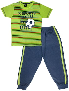 Todd N Teen Cotton Striped Top & Bottom Set - Green & Blue