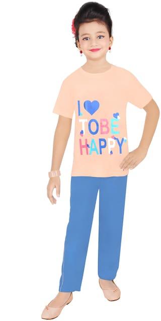 Todd N Teen Girl's Cotton Printed Short sleeves Top & pyjama set - Beige & Blue