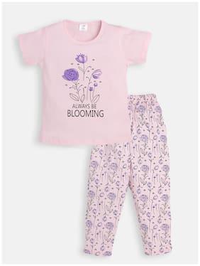 Todd N Teen Girls Cotton Printed Casualwear, Nightwear, Dailywear With Pajama 5-6 years (Peach)
