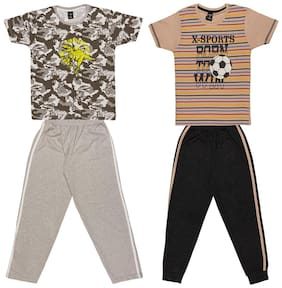 Todd N Teen Boys Cotton Printed Tshirt with Pant Combo set of 2 (7 to 8 years) multi