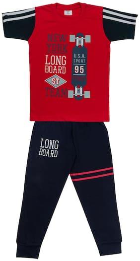 Todd N Teen Boys Cotton Pinted Tshirt, Dailywear, Clothing Set With Track Pant Full Pant Pyjama (red) 11-12 years