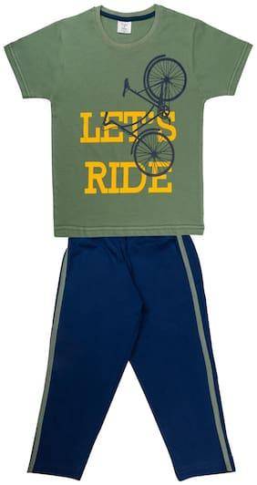Todd N Teen Boys Cotton Pinted Tshirt, Dailywear, Clothing Set With Track Pant Full Pant Pyjama Teal 5-6 years