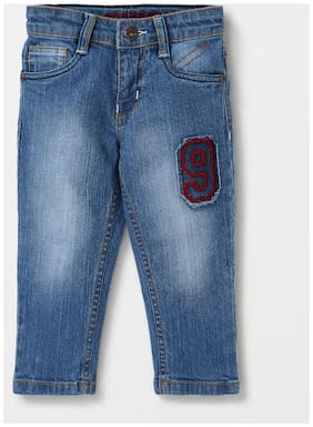TONYBOY Boys Full Length Elastic Waist Denim Jeans with Pockets (Blue)