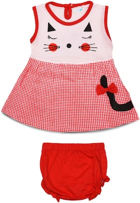 TOONYPORT Baby girl Cotton blend Printed Frock with bloomer - Red