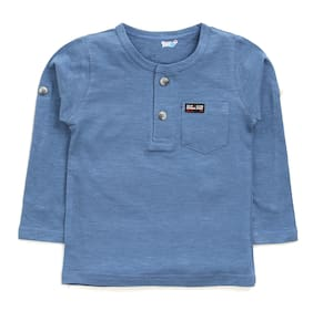 TOONYPORT Cotton blend Solid T shirt for Baby Boy - Blue