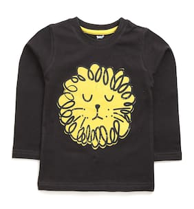 TOONYPORT Cotton blend Printed T shirt for Baby Boy - Black