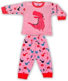 Toonyport Fullsleeves Thick Fabric Dino Print Kids Winter Wear Pink Tshirt Pant Set Size-L 12-18 Months