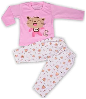 Toonyport Infant wear Full-sleeves Kidswear Cat Printed Pink T-shirt Pant Set 100% Cotton Sizes-M Age 6-12 Months