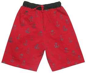 TOONYPORT Kids Cotton Printed Shorts Half Pants for Boys - Red