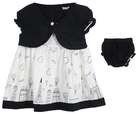 TOONYPORT Baby girl Cotton blend Printed Frock with bloomer - Black & White