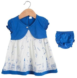 TOONYPORT Baby girl Cotton Printed Frock with bloomer - Blue & White