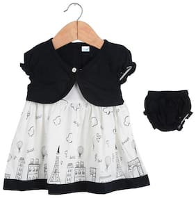 TOONYPORT Baby girl Cotton Printed Frock with bloomer - Black & White