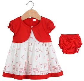 TOONYPORT Baby girl Cotton Printed Frock with bloomer - Red & White
