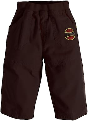 Toonyport Solid 3 Quarter Cotton Pant For Boys (Brown)
