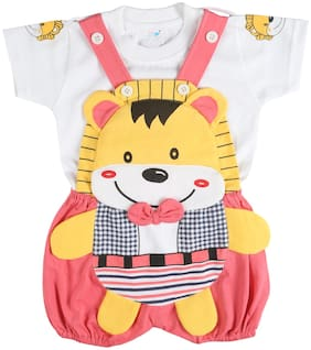 Toonyport Teddy Print Baby Dungree Dress - Multi