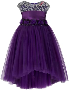 Toy Balloon Net Embroidered Frock - Purple
