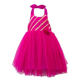 f9c973148a Toy Balloon Kids Girl Net Solid Frock - Pink
