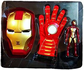 Toy4Pick Avengers 3 in 1 Gift-Set 1 Disk Throwing Glove + 1 Mask + 1 Action Figure (Iron Man)