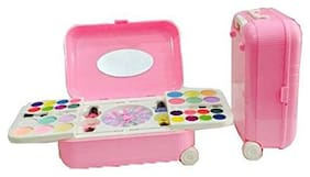 Toy4Pick Girl's All-in-One Cosmetic and Real Makeup Palette with Mirror;2 in 1 kit Comes in Trolley for Kids( MAKE UP KIT AND NAIL ART KIT )