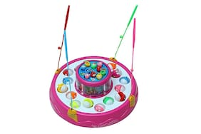 Toy4Picks Fishing Game Fish Pool & Fish - with Flashing Lights & Catchy Sound for Toddlers & Kids