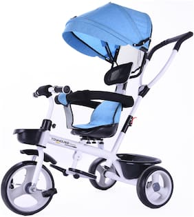 Toyhouse Deluxe Stroll & Trike with Canopy with Adjustable Push Handle;Removable Canopy;Foldable Pedal;Detachable Guardrail;Suitable for 9 Months to 4 Years;Blue