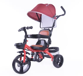 Toyhouse Flash Stroll N Trike with Adjustable Push Handle;Removable Canopy;Foldable Pedal;Detachable Guardrail;Suitable for 9 Months to 4 Years;Red