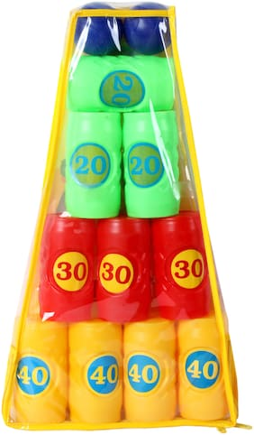 TOYSONS  Hitcans knock down tower hit ball toy game for boys and girls SET of 10 +2 Boys Assorted