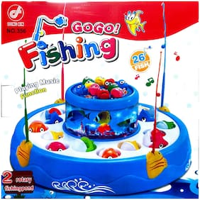 Toysons Rotating Fish Catching Game With Playing Music Function With 2 Rotatory Fishing Pond And 26 Fishes 4 Fishing Rods