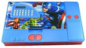 Toyvala Avengers Gadget Jumbo Multi Purpose Pencil Box with Calculator for Kids (Multicolour)