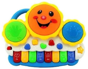 TOYVALA Drum Keyboard Musical Toys With Flashing Lights, Animal Sounds & Songs - Battery Operated Kids Toys  (Multicolor)