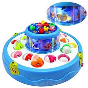 Toyvala Electric Rotating Magnetic Fish Catching Game With Musical Lights (Multicolor)
