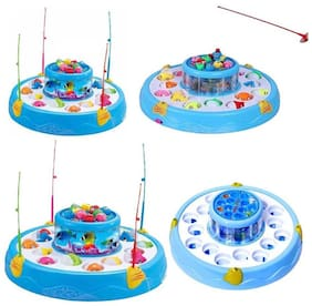 Toyvala Fishing Game with Playing Music Function/26 pcs Of Fish/2 Rotary Fishing Pond (Multicolor)