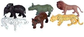 Toyvala Jungle Animal Realistic Feel Action Figure (Set Of 6)