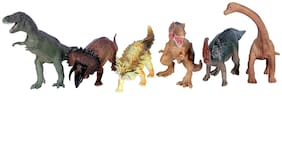 Toyvala Jurassic Wildlife Flexible Dinosaur Toys, Dinosaur Action Figure Toy (Multicolor)