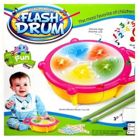 TOYVALA Kids Multicoloured Flash Drum Set With Music and Lights Electronic Touch Flash Visual 3d Lights with 3 game mode & Dynamic Music Toy For Kids and for Return Gift