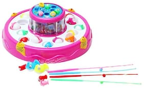 Toyvala Magnetic Battery Operated Fishing Set with 2 Rotary Function (Multicolor)