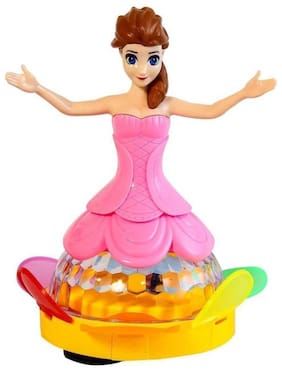 Toyvala Musical Rotation Doll With Flashing Light & Music Multicolor