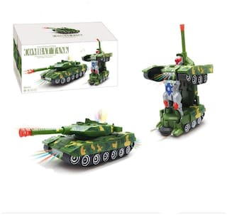 Toyvala Musical Army Tank Convert into Robot for Kids