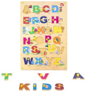 Toyvala Pinewood Wooden Jigsaw Puzzle Board for Kids - Alphabet (A to Z) Capital Letter with Pics - Learning & Educational Gift for Kids  (26 pcs)