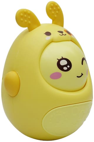 Toyvala Push and Shake Wobbling Bell Sounds Roly Poly Tumbler Doll Yellow