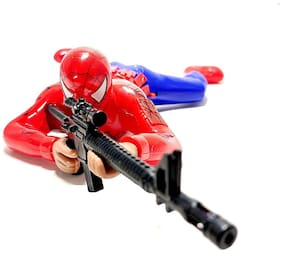 Toyvala Spiderman Crawling with Gun Action Toy with Lights & Real Shooting Sound