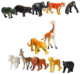 Toyvala Wild Animals Figures ,set of 12 pieces (Multicolor)