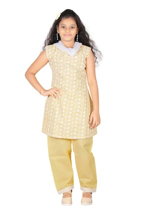 Trendy Girls Girl's Cotton Solid Sleeveless Gown - Yellow