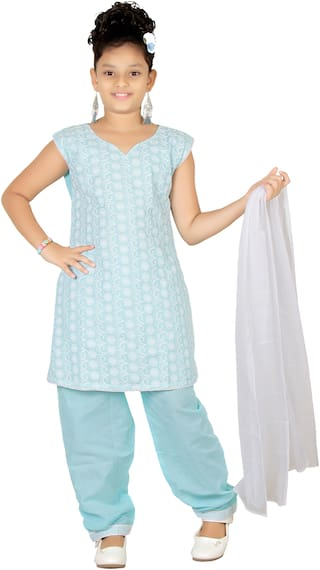 Trendy Girls Girl's Cotton Solid Sleeveless Gown - Blue